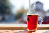 Hot Tea by Window — Stock Photo