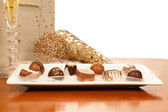 Chocolates, Gold, and Champagne — Stock Photo