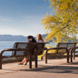 Stock Photo: Park Bench by the Lake