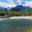 Clear River with Mountains — Stock Photo