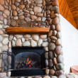 River Rock Fireplace — Stock Photo