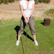 Tee off with cleavage — Stok fotoğraf