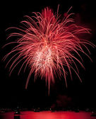 Red Fireworks with Reflection — Stock Photo