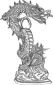Chinese Style Dragon Statue Vector line Sketched Up, EPS 10. — Stock Vector