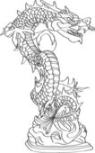 Linha vector estátua do dragão chinês estilo esboçado acima, eps 10. — Vetor de Stock