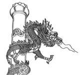 中国スタイルのドラゴン像ベクトル線をスケッチ、eps 10. — ストックベクタ