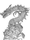 Chinese Style Dragon Statue Vector line Sketched Up, EPS 10. — Vetorial Stock