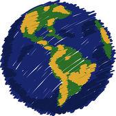 Wereld kaart globe vector geschetst, eps-10. — Stockvector