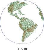 Světová mapa zeměkoule vektor nakreslil, eps 10. — Stock vektor