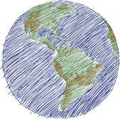 世界地図世界ベクトル、eps 10 スケッチ. — ストックベクタ