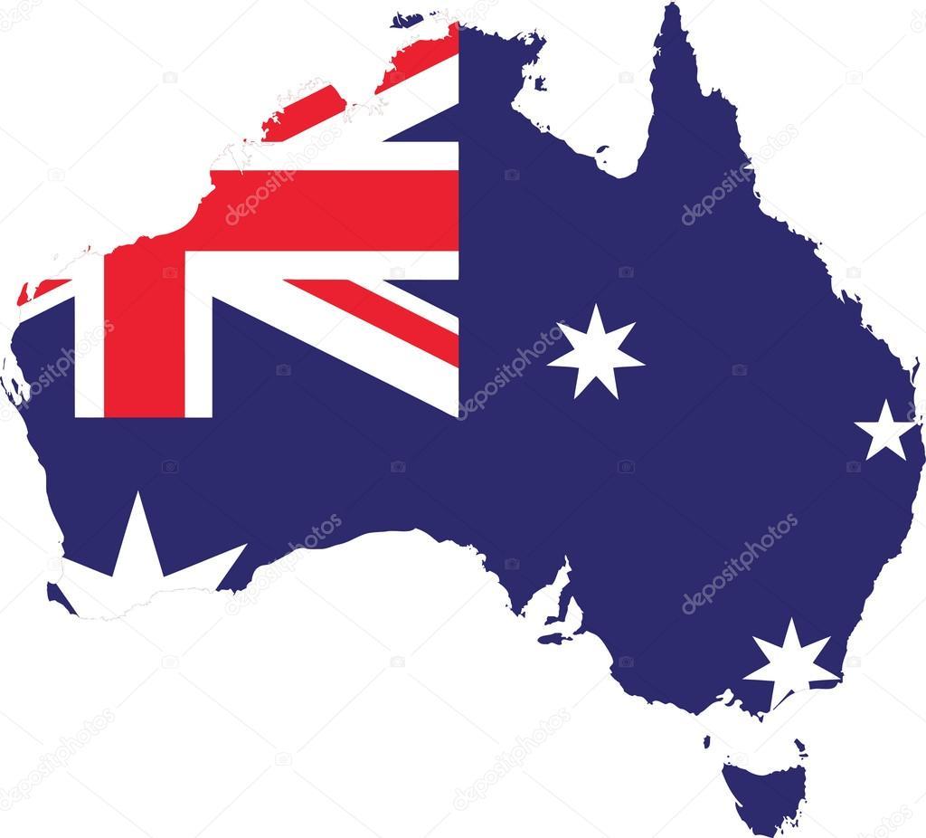 澳大利亚国旗地图矢量