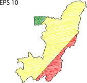 Flaga konga mapa szkic wektor się eps 10. — Wektor stockowy