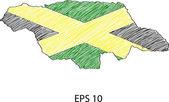 牙买加国旗地图矢量速写了 eps 10. — 图库矢量图片