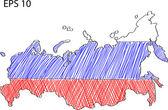 Russland flagge karte vektor skizze oben, eps 10. — Stockvektor