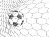 Soccer Football in Goal Net Vector Sketched Up, EPS 10. — Stockvektor