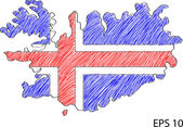 Iceland Flag Map Vector Sketch Up, EPS 10. — Stock Vector
