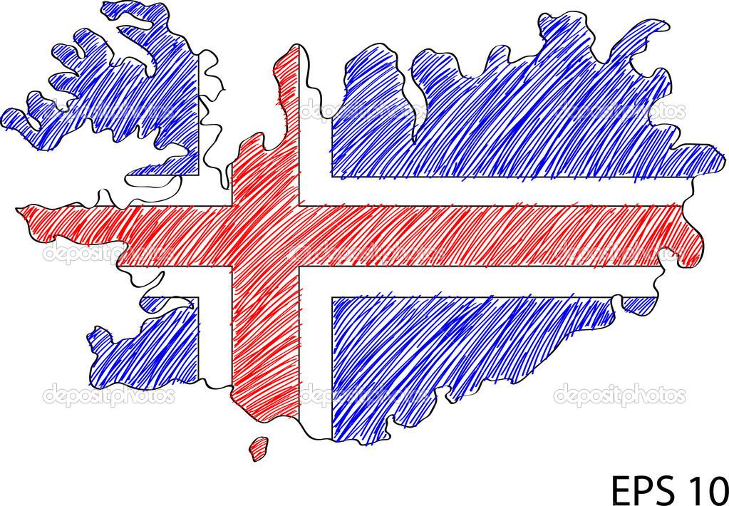 冰岛国旗地图矢量速写了