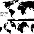 Earth Globe with World map Detail Vector Illustrator, EPS 10. — Vettoriale Stock