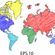 Earth Globe with World map Detail Vector Line Sketched Up Illustrator, EPS 10. — 图库矢量图片