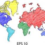 世界地図詳細ベクトル線イラストレーター eps 10 をスケッチしたと地球 — ストックベクタ