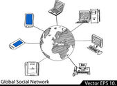 LAN Network Diagram Vector Illustrator Sketcked, EPS 10. — Vector de stock