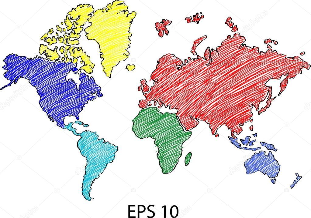 地球地球与世界地图详细矢量线速写了