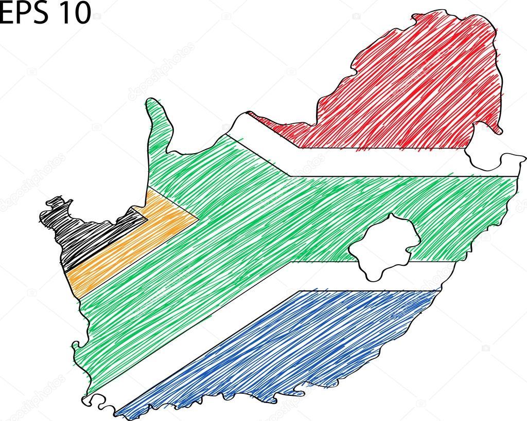 南非国旗地图矢量速写了 eps 10