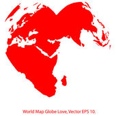 Heart World Map Globe Vector Illustrator, EPS 10. — Stock Vector