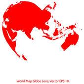 Serce świata mapę świata wektor ilustrator, eps 10. — Wektor stockowy
