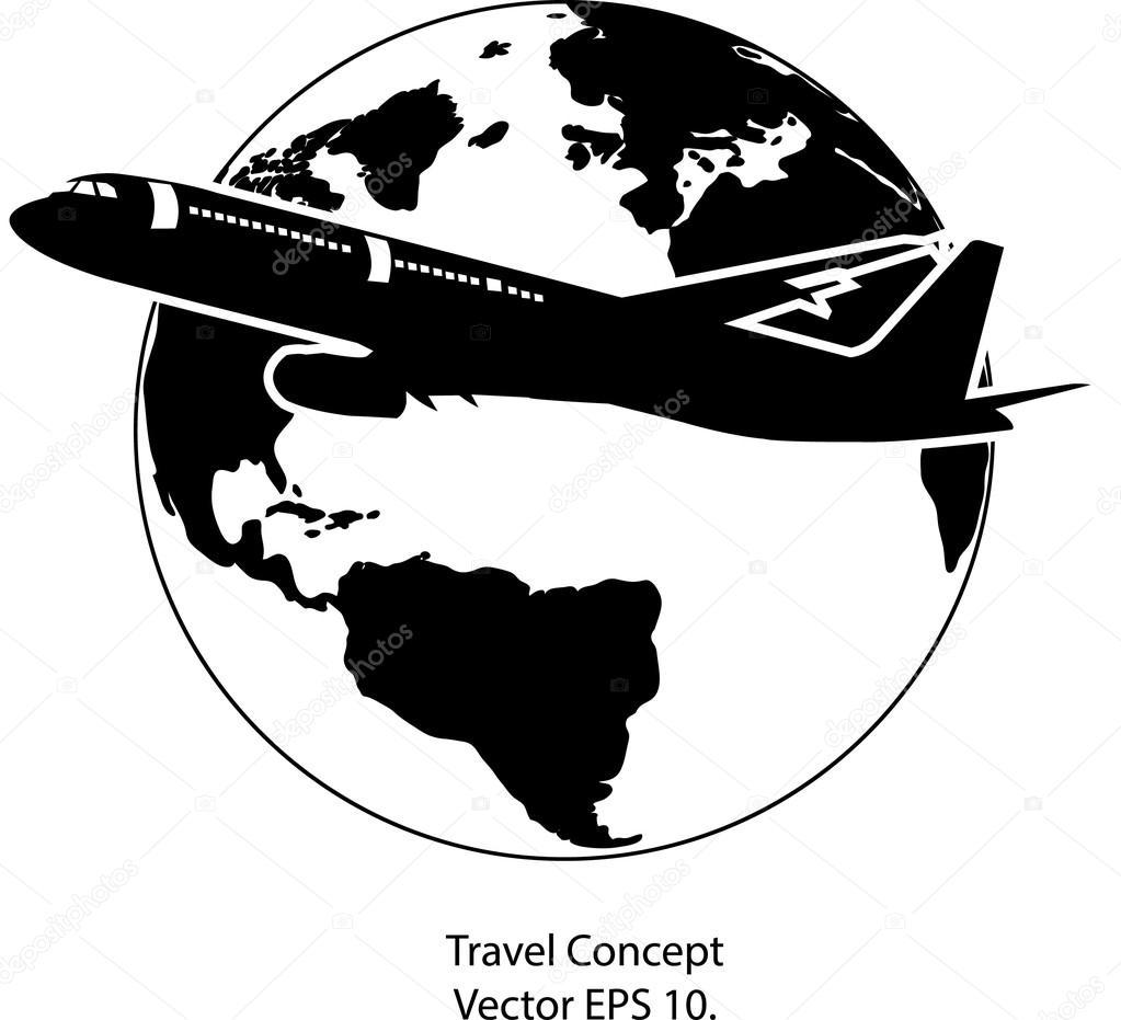 环游世界矢量图图标,eps 10 架飞机