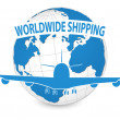 Airplane, Air Craft Shipping Around the World for Worldwide Shipping Concept, Vector Illustration EPS 10. — Vettoriali Stock
