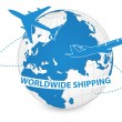 Airplane, Air Craft Shipping Around the World for Worldwide Shipping Concept, Vector Illustration EPS 10. - Stok Vektör