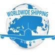 Airplane, Air Craft Shipping Around the World for Worldwide Shipping Concept, Vector Illustration EPS 10. — Stock vektor