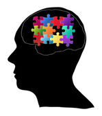 Human Brain with Jigsaw Puzzle for Think Idea Concept Vector Outline Sketched Up, Vector Illustration EPS 10. — Stock Vector