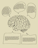 Human Brain with Infographic Banner Diagram for Business and Technology Concept Vector Outline Sketched Up, Vector Illustration EPS 10. — Stock Vector