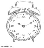 Drawing Clock Vector Line Sketched Up Illustrator, EPS 10. — Stock Vector