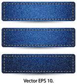 Blue Denim Jean TAG Label Texture Background, Vector Illustration EPS 10. — Stock Vector