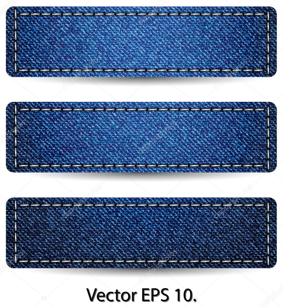 Blue Denim Jean TAG Label Texture Background, Vector Illustration EPS ...