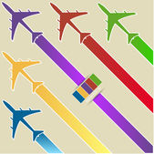 Infographic of Colorful Airplanes with Colorful Background, Vector Illustraton EPS 10. — Stock Vector