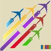 Infografica di aeroplani colorati con sfondo colorato, vettoriale eps illustraton 10. — Vettoriale Stock