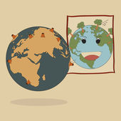Concept Vector of World Map Earth Globe for Save World, Vector Illustration EPS 10. — Stock Vector