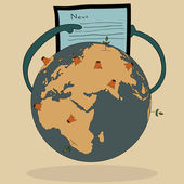 Concept Vector of World Map Earth Globe for Save World, Vector Illustration EPS 10. — Cтоковый вектор