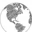 World Map Earth Globe Vector line Sketched Up Illustrator, EPS 10. — Stock Vector #35192831