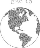 World Map Earth Globe Vector line Sketched Up Illustrator, EPS 10. — Stock Vector