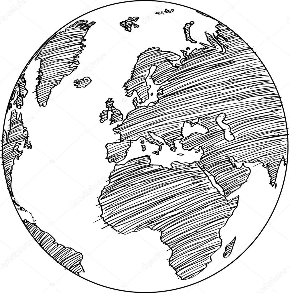 Drawing Vector Lines In Illustrator : World map earth globe vector line sketched up illustrator