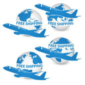 Concept of Airplane, Air Craft Shipping Around the World for Transportation Concept, Vector Illustration EPS 10. — Stock Vector