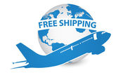 Airplane, Air Craft Shipping Around the World for Free Shipping Concept, Vector Illustration EPS 10. — Stock Vector