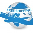 Air Craft Shipping Around the World, Free Shipping Concept — Stock Vector
