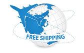 Air Craft Shipping Around the World — Stok Vektör