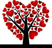 Valentine Tree with Love Heart, Vector Illustration EPS 10. — Stok Vektör
